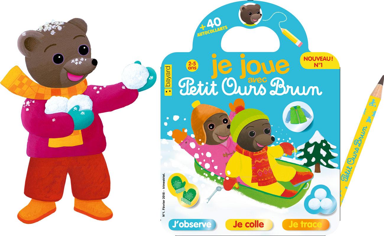 le magazine Je joue avec Petit Ours Brun, la couverture et le crayon