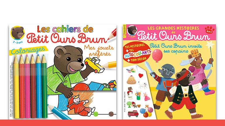 Les cahiers de Petit Ours Brun n°44 : Coloriages Mes jouets préférés; Les Grandes Histoires de Petit Ours Brun n°23 : Petit Ours Brun invite ses copains