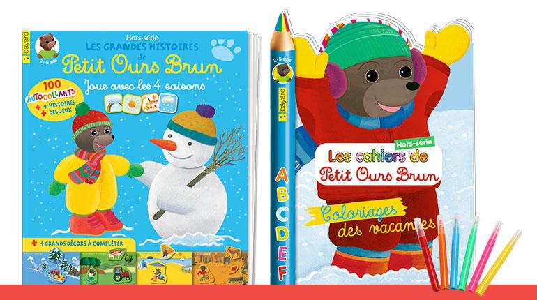 Les Grandes histoires de Petit Ours Brun HORS-SÉRIE : Joue avec les 4 saisons - Les cahiers de Petit Ours Brun HORS-SÉRIE n°14 : Coloriages des vacances