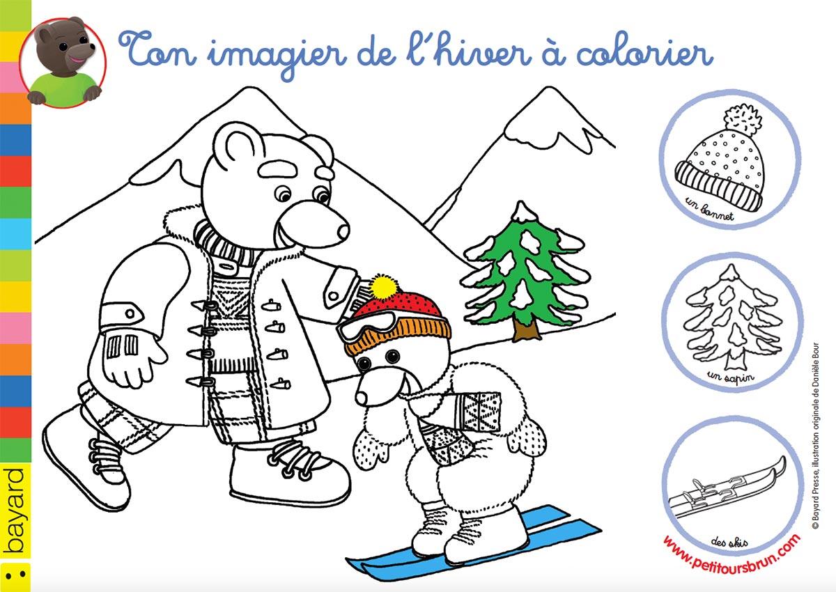 Colorie l'hiver avec Petit Ours Brun
