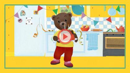 petit ours brun fete son anniversaire