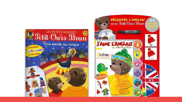 J'aime l'anglais avec Petit Ours Brun n°5 et un hors-série des Petits Mondes de Petit Ours Brun : une soirée au cirque