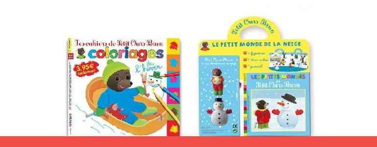 Les cahiers de Petit Ours Brun coloriages et Les Petits mondes de Petit Ours Brun. Hiver 2012