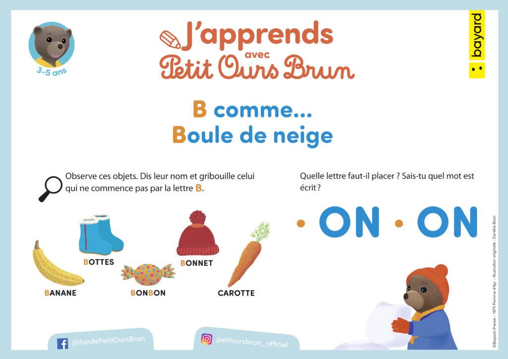 Téléchargez ces petits exercices pour apprendre la lettre B avec Petit Ours Brun